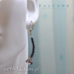 falcone kfiatki, kolczyki, srebro, pozłacane, hematyt, nowoczesne, kwiaty