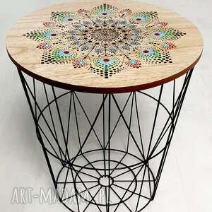 stolik kawowy, mały, druciany, ręcznie malowany, mandala