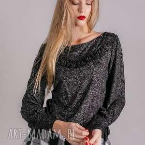 bluzka damska czarna ze srebrną nitką, bluzki, bluza, spódnice, marynarki