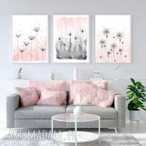zestaw 3 prac a3, łąka, kwiaty, akwarela, plakat, obraz, ilustracja, pod choinkę