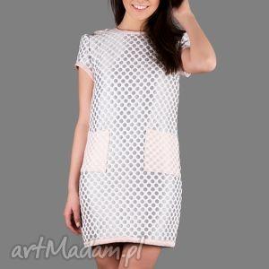 święta prezent, sukienka 3d polka dot dress, sukienka, luźna, grochy, dzianina