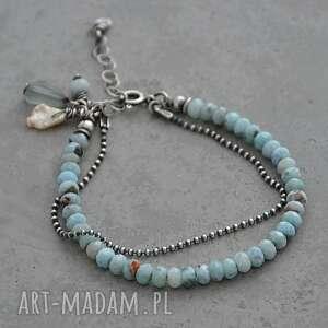 larimar, akwamaryn i perła bransoletka 068, srebro, akwamaryn, perła