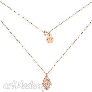 sotho naszyjnik z różowego zlota ręką fatimy, modny, minimalistyczny, srebro