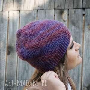 czapka wiatraczek w fioletach - miękka, ciepłła, śliwkowa