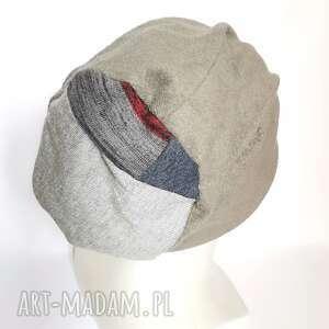 handmade czapki czapka szara damska smerfetka na podszewce długa rozmiar uniwersalny