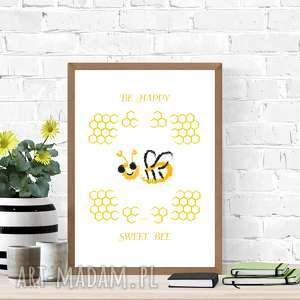 plakat z pszczółką, grafika pszczołą, pszczoła obrazek dla dzieci, ładny