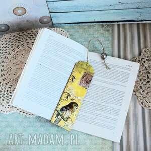 zakładka do książki - jastrząb, zakładka, drewno, decoupage, ptak, natura, las