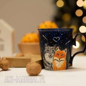 kubki porcelanowy kubek do kawy z wilkiem i lisem, malowana porcelana