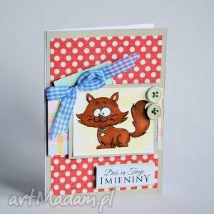 kartki kartka - dziś są twoje imieniny, kartka, kotek, lisek, stempel