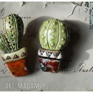 komplet broszek kaktusów, ceramika, broszka, doniczka kwiat