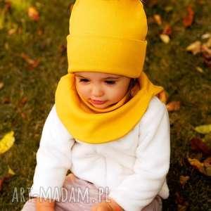 komplet na jesień, czapka i golf - kolor musztardowy - czapka i golf, zestaw na