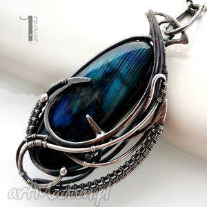 scarabaeus - srebrny naszyjnik ze spektrolitem, labradoryt, srebro, 925, wirewrapping