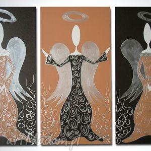 obraz ręcznie malowany ANIOŁY SZCZĘŚCIA I DOBROBYTU - A8 90x60cm, anioły, anioł,