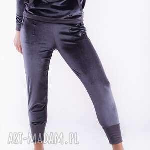 spodnie aksamitne szare-bridget, spodnie, bluza, sukienka, dres, bluzka