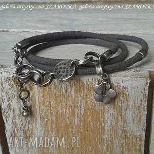 ręcznie wykonane surowa bransoletka z rzemienia i srebra