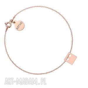 bransoletka z różowego złota kwadratem - różowe złoto