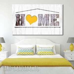 obraz duże HOME 03 -120x70cm na płótnie szary żółty, obraz, na, płótnie, home