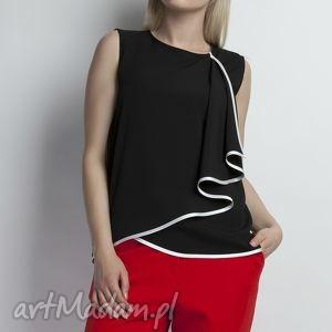 Bluzka, BLU124 czarny, czarna, koszulka, żabot, lamówka, elegancka, komunia