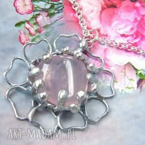 hand-made naszyjniki naszyjnik: kwiat z kwarcem różowym