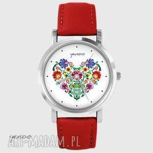 Prezent Zegarek - Serce folkowe czerwony, skórzany, zegarek, bransoletka, skórzany