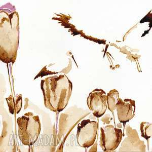 aksinicoffeepainting tulipanowe boćki - obraz kawą malowany - bocian