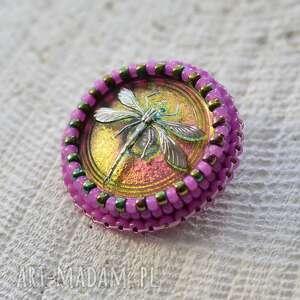 shiny buttons dragonfly - ważka, wyszywana, haft, koraliki