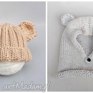zamówienie specjalne, czapka, komin, niedźwiedź, dziecko, niemowlę, wełniane