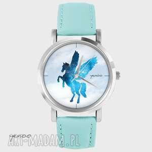 zegarek, bransoletka - pegaz turkusowy, skórzany, bransoletka, skórzany