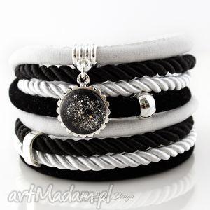bransoletka z rzemieni black white - duży rozmiar, zwijana, oplatana, rzemienie