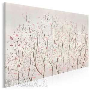 obraz na płótnie - drzewo liście różowy modny 120x80 cm 93101