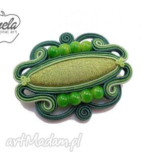 broszka sutasz imago zielona, ażurowa - mela, soutache