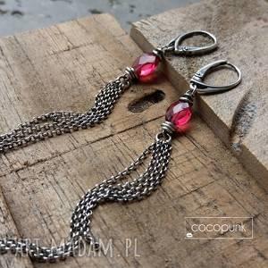 srebro i kwarc różowy - długie wiszące kolczyki, kolczyki