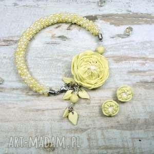 Prezent Komplet biżuterii piwonie: pastelowy żółty, prezent, koraliki, romantyczny
