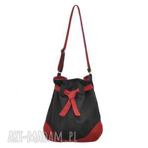 3b7e27008f046 na ramię handmade 25-0001 Duża czarna torebka worek do szkoły lub na studia  SPARROW