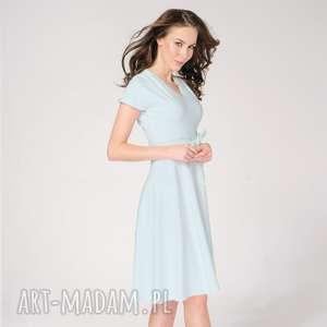 Sukienka Felicia Szaro-Niebieska, rozkloszowana, elegancka-sukienka