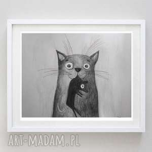 kotek z myszką -akwarela formatu