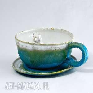 Prezent Ceramiczna filiżanka kubek z figurką kota - Turkus rozbarwieniem 310ml