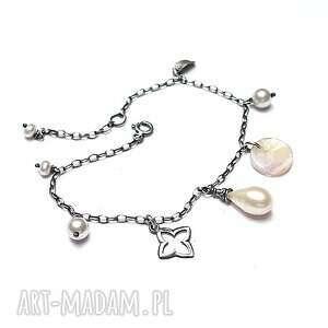 marrakesh - bransoletka, srebro, oksydowane, perła, żywica