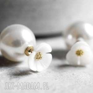 Podwójne kolczyki Kwiat i perła , perły, kwiaty, kwiatek, kolczyki, wkrętki, róź