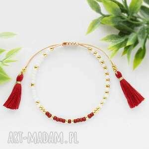 bransoletka na sznurku z chwostami kremowo-bordowa minimal cream and burgundy