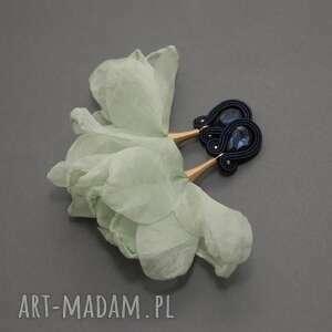 kolczyki sutasz z kwiatkiem, sznirek, miętowe, eleganckie, granatowe, delikatne