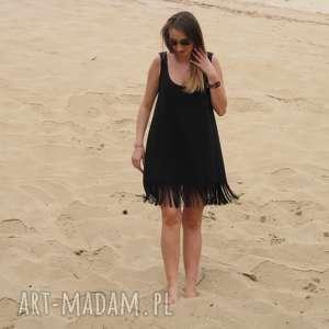 52-czarna dzianinowa sukienka z frędzlami, lalu, sukienka, dzianina, bawełna, frędzle