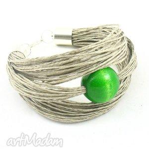 z zieloną kulką, bransoletka, drewno, len