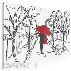 obraz na płótnie - szkic para parasol love 120x80 cm 88701, para, miłość