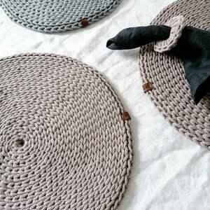 podkładka stołowa duża ze sznurka bawełnianego, podkładki, dodatki do domu