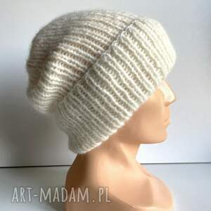 ręcznie robiona czapka wywijana hand made alpaka air 01 ecru, czapka, alpaca