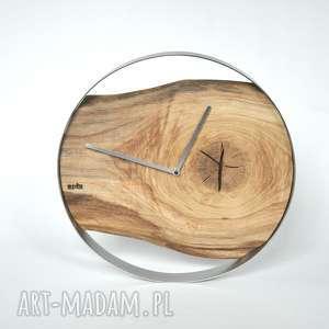 Zegar LOFT - dębowy duży w stalowej obręczy 40cm, drewno, stal, loft, dębowy, scienny