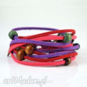 bransoletka - czerwono różowa rzemienie zamszowe, bransoletka, owijana