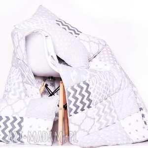 Komplet art narzuta white and grey 155x210cm patchwork koce