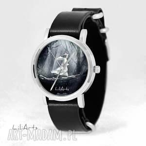 Prezent Zegarek, bransoletka - Magiczny las czarny, skórzany, nato, zegarek